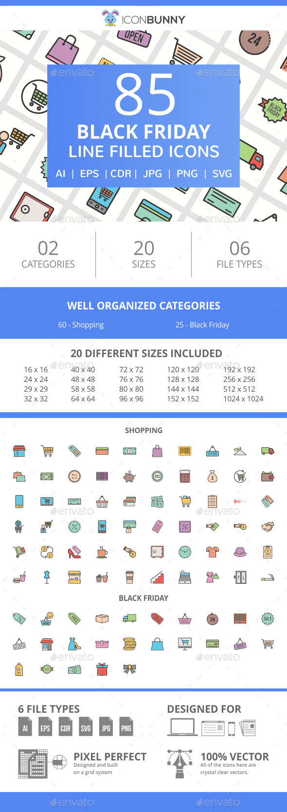 85 Black Friday Filled Line Icons - Icons