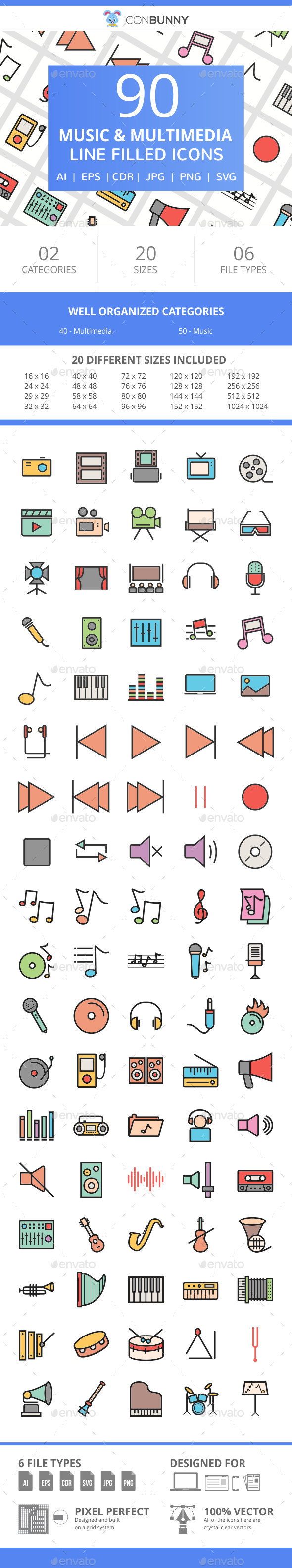 90 Music & Multimedia Filled Line Icons