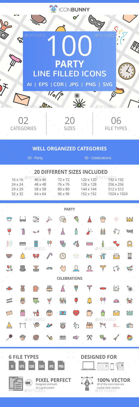 100 Party Filled Line Icons - Icons
