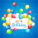 Balloons and Tinsel on Blue Holiday Background