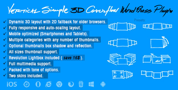 Vertical Simple 3D Coverflow Wordpress Plugin - CodeCanyon Item for Sale