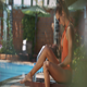 Girl Smears Legs with Sunscreen at Hotel Resort - VideoHive Item for Sale