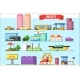 Flat Vector Set of Big City Elements. Children - GraphicRiver Item for Sale