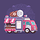 Street Coffee Van on City Background - GraphicRiver Item for Sale