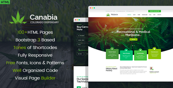 Image of Canabia - Medical Marijuana Dispensary HTML Template