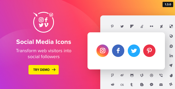 WordPress Social Media Icons – Social Icons Plugin - CodeCanyon Item for Sale