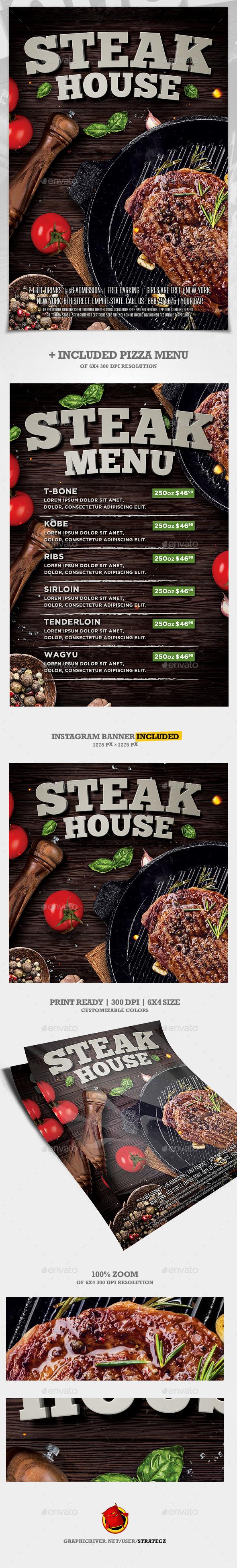 Steak Bar Menu Flyer - Print Templates