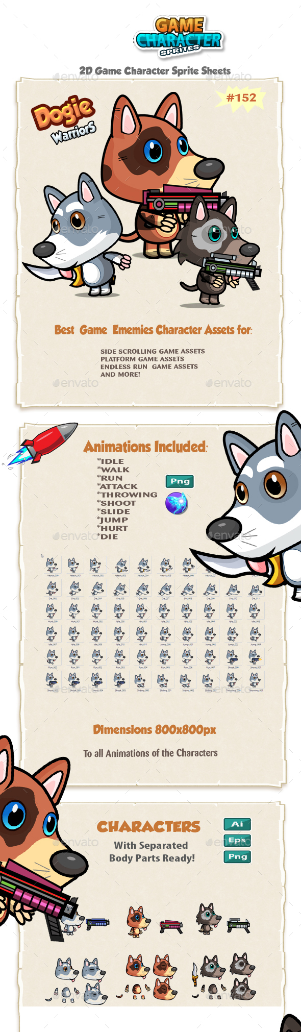 Cute Dogies 2D Game Character Sprites 152 - Sprites Game Assets