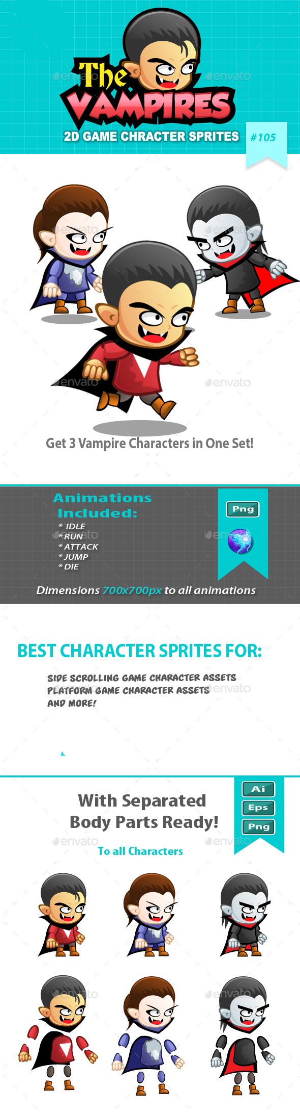 Vampires 2D Game Character Sprites - Sprites Game Assets