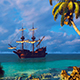 Sailing Ship In The Bay With Clear Water - VideoHive Item for Sale