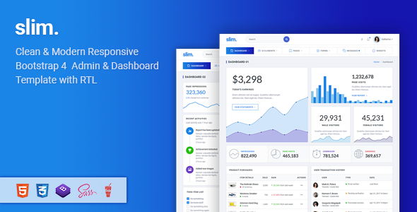 Slim - Modern & Clean Responsive Bootstrap 4 Admin Dashboard Template - Admin Templates Site Templates
