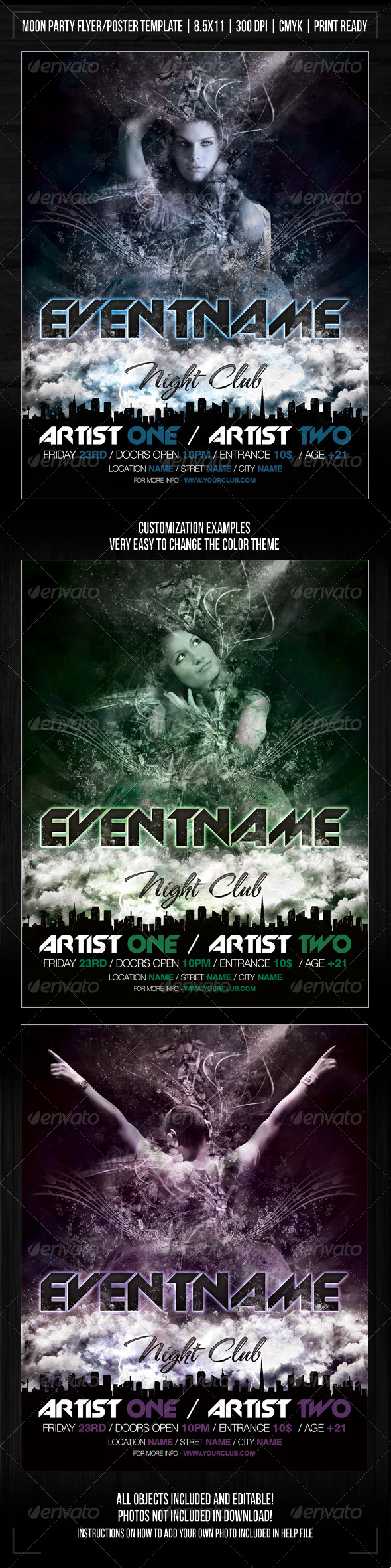 Night Club Moon Party/Concert Flyer/Poster - Clubs & Parties Events