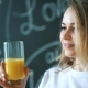Young Beautiful Woman Drinking Juice, Girl Drink Orange Fresh on Morning Breakfast - VideoHive Item for Sale