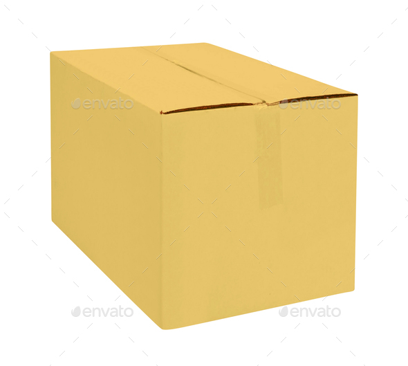 cardboard box isolate on white - Stock Photo - Images