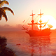 Evening Sun, Sailing Ship And Palm Trees - VideoHive Item for Sale
