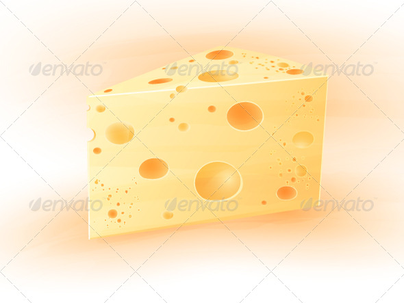 Vector icon piece of cheese with holes - Food Objects