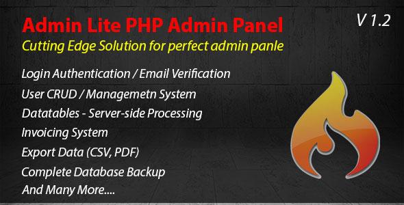 Admin Lite - PHP Admin Panel + CRUD - CodeCanyon Item for Sale