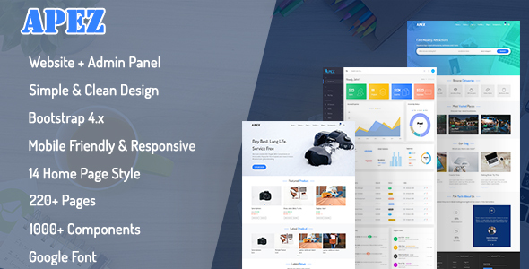APEZ - Responsive Multi-Purpose HTML5 Template + Admin Template - Corporate Site Templates