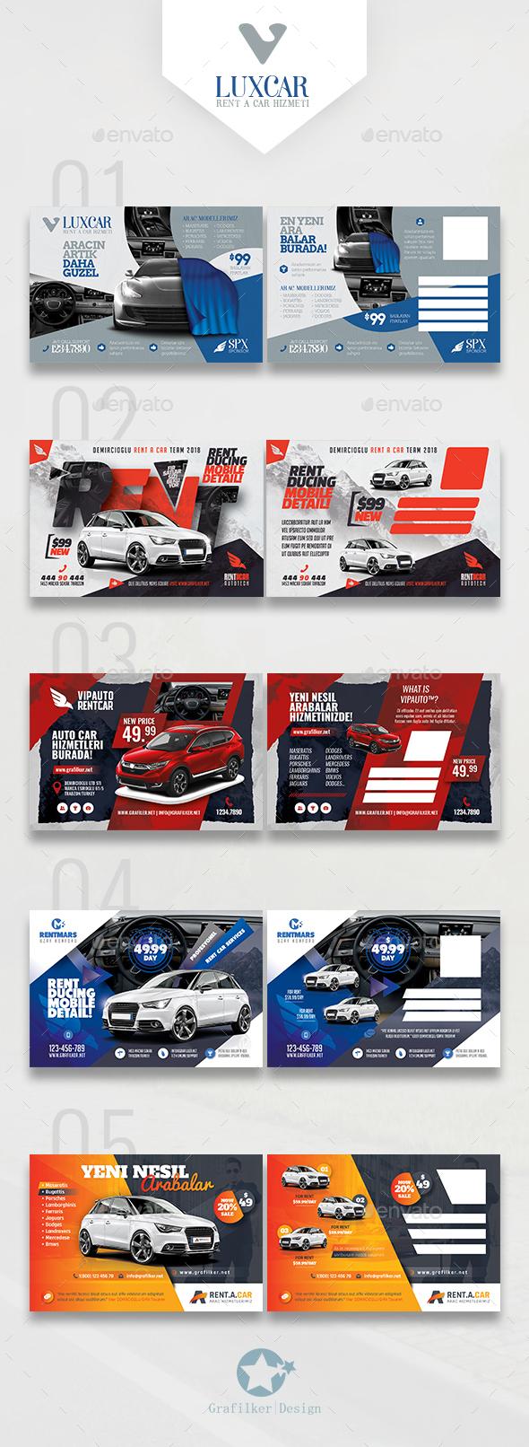 Rent A Car Bundle Postcard Templates - Cards & Invites Print Templates