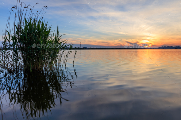 sunet over lake - Stock Photo - Images