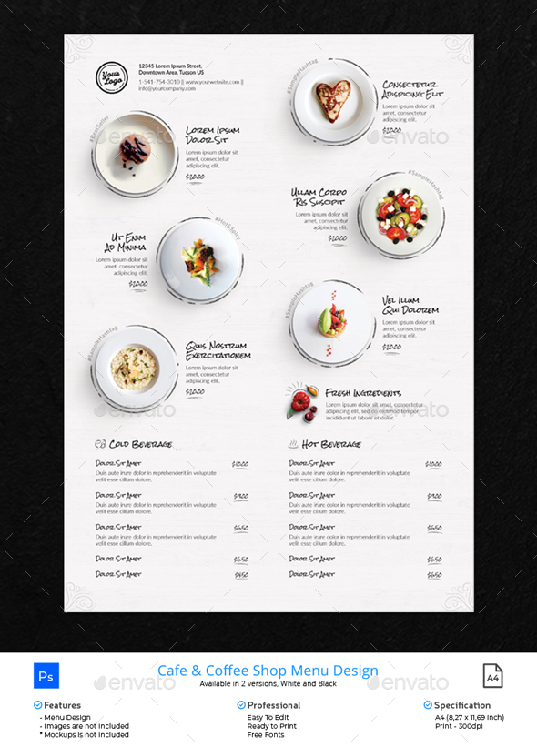 Clean Menu White Wood - Food Menus Print Templates