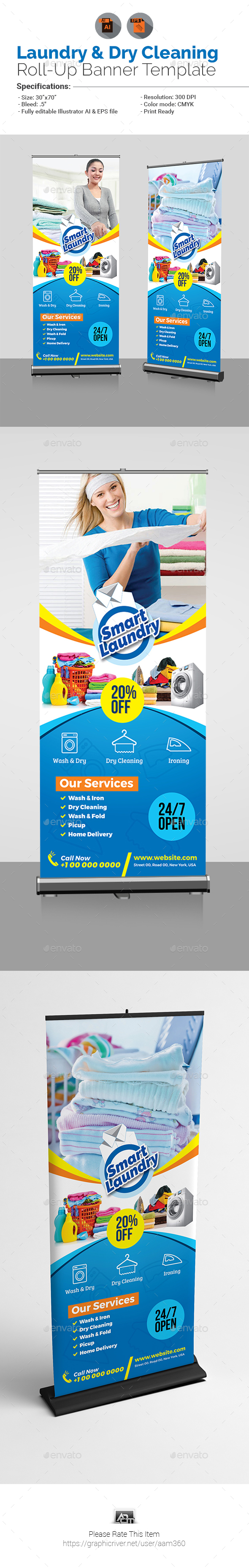 Laundry & Dry Cleaning Services Roll-Up - Signage Print Templates