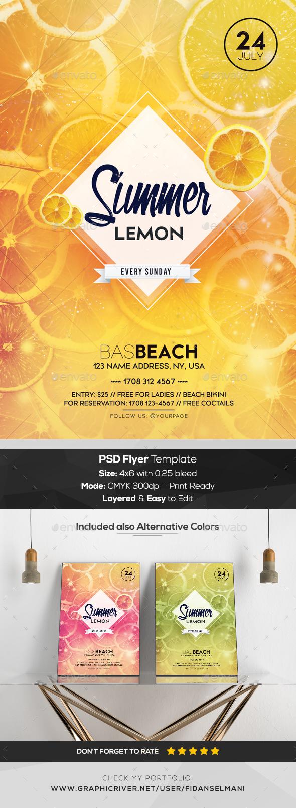 Summer Lemon - PSD Flyer Template - Flyers Print Templates