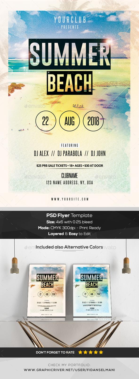 Summer Beach - PSD Flyer Template - Events Flyers