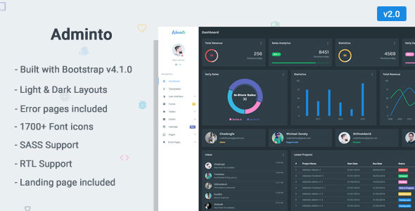 Adminto - Responsive Bootstrap 4 Admin Dashboard - Admin Templates Site Templates