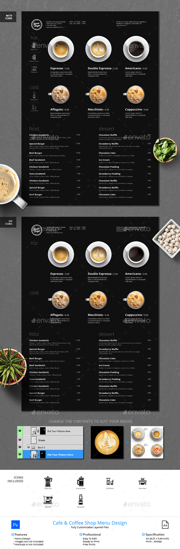Minimalist Photography Coffee Menu Dark Version - Food Menus Print Templates