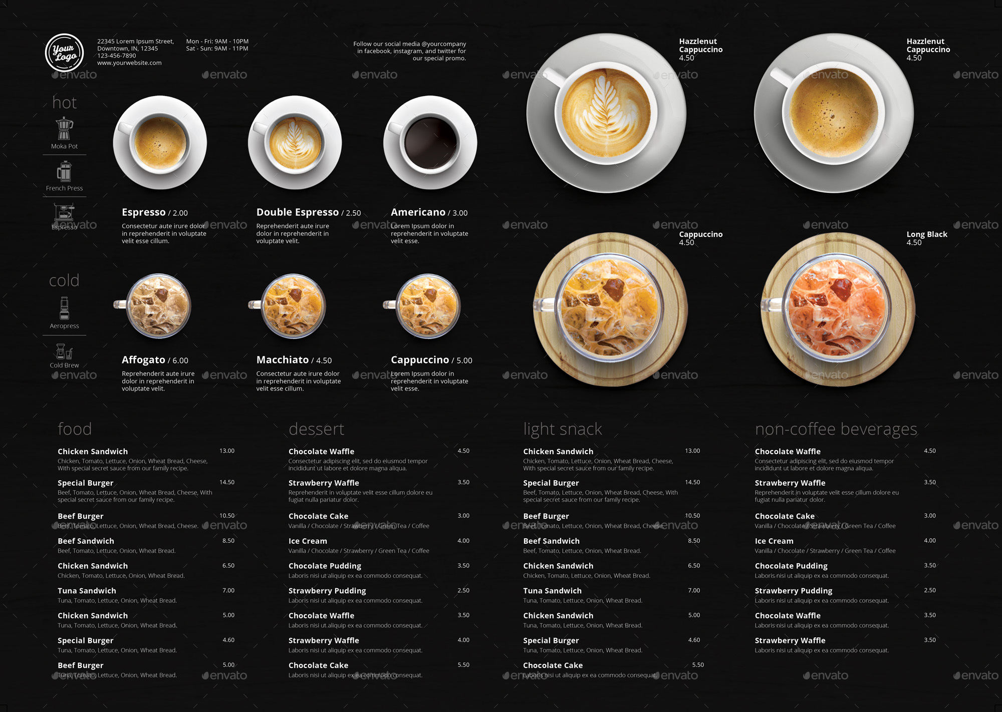 minimalist photography coffee menu a3 by mean