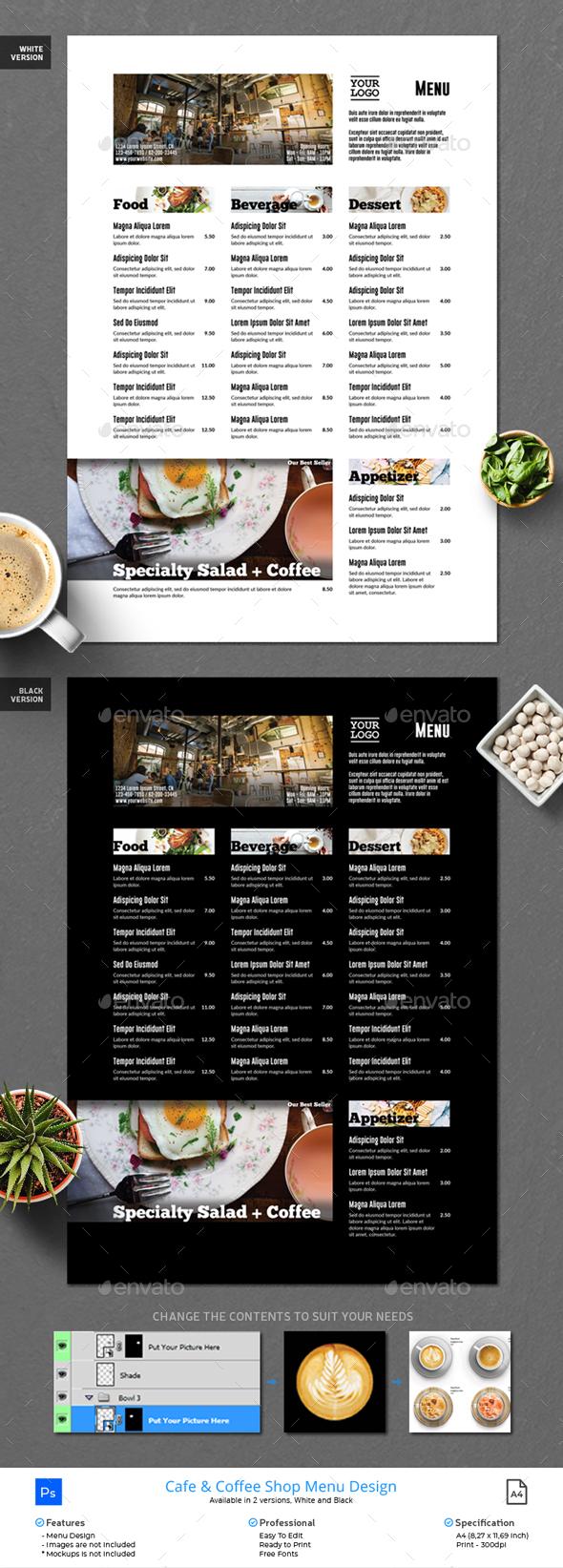 Menu Minimalist Photography Design - Food Menus Print Templates