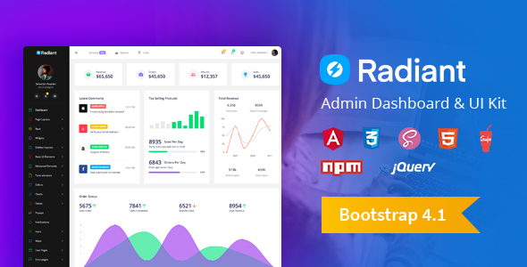 Radiant Bootstrap 4 Admin Template + Angular 5 Starter Kit - Admin Templates Site Templates