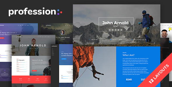 Profession - Personal One Page Portfolio Template - Virtual Business Card Personal
