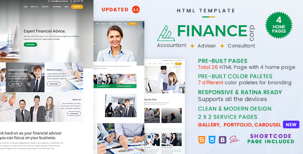 Finance Corp - A Financial Services & Business Consulting Template - Corporate Site Templates