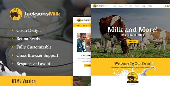 Image of Dairy Farm & Eco Products HTML Template