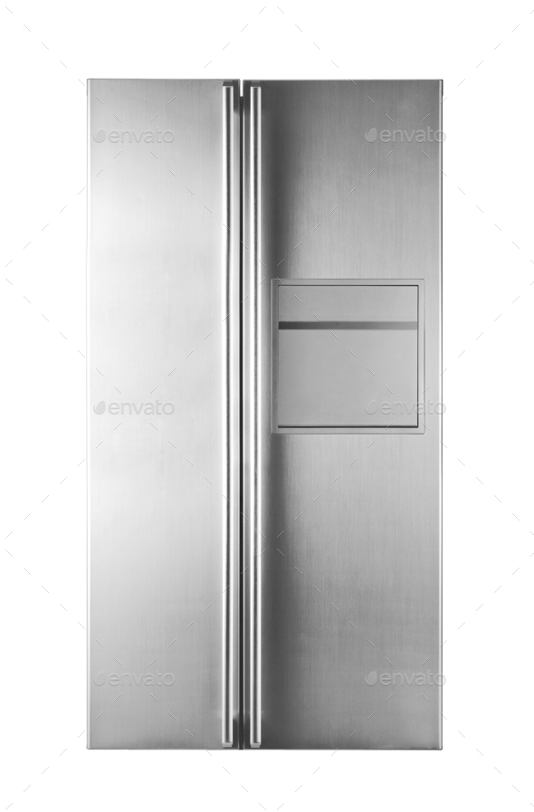 Modern Refrigerator isolated on white - Stock Photo - Images