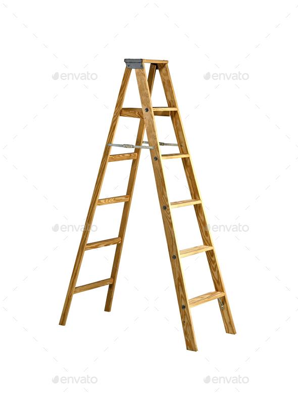 Herringbone ladder isolated on white - Stock Photo - Images