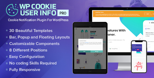 WP Cookie User Info Pro - Cookie Notification Plugin for WordPress            Nulled