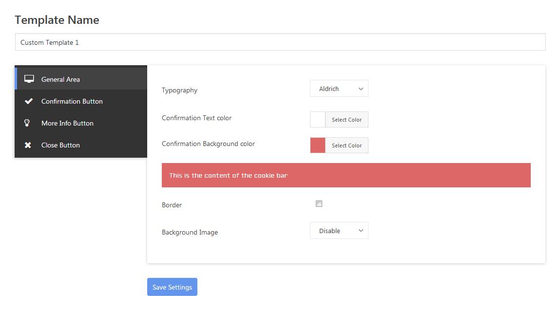 Wp cookie user info pro cookie notification plugin for for Wordpress custom menu template
