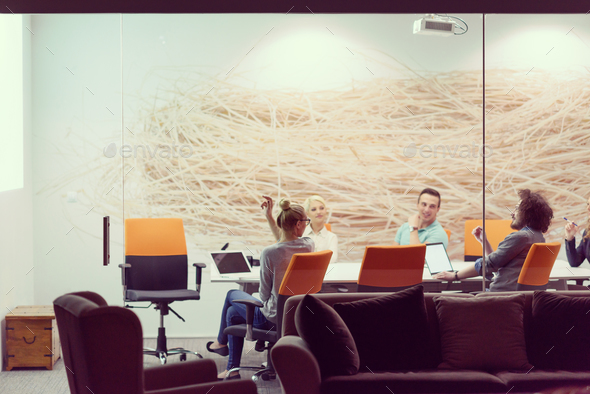 Startup Business Team At A Meeting at modern night office buildi - Stock Photo - Images