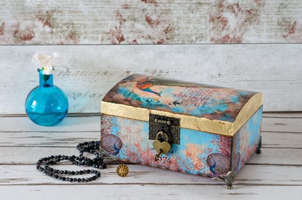 Decoupaged Jeqwellery Box - Stock Photo - Images