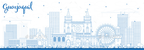 Outline Guayaquil Ecuador City Skyline with Blue Buildings. - Buildings Objects