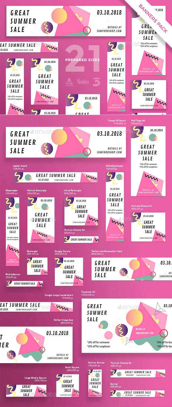 Great Summer Sale Banner Pack - Banners & Ads Web Elements