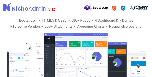 Niche Admin - Powerful Bootstrap 4 Dashboard and Admin Template - Admin Templates Site Templates
