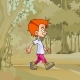 Cartoon Red Haired Boy Walking in the Forest