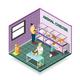 Animal Shelter Isometric Composition