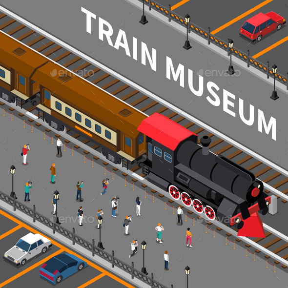 Train Museum Isometric Composition - People Characters
