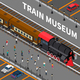 Train Museum Isometric Composition