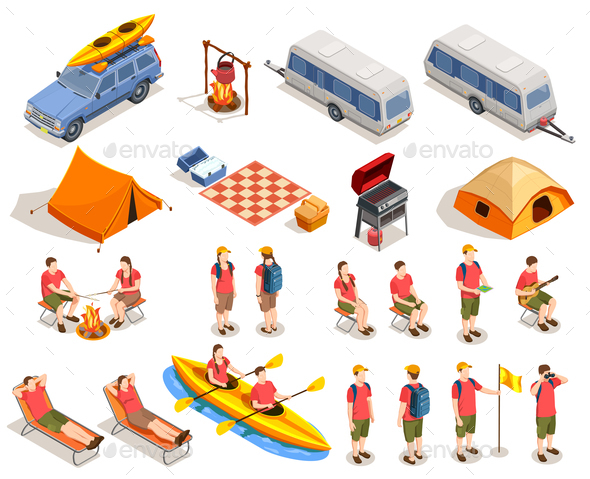 Camping Hiking Icon Set - Miscellaneous Vectors
